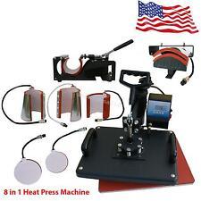 8 in1 Heat Press Machine Digital T-Shirt Mug Cap Plate Transfer Sublimation USA!