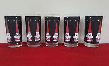 5 HOLT HOWARD GLASS TUMBLER HAPPY SANTA ON BLACK POINTY HAT 12 OZ LIBBEY LRS182