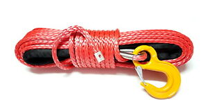 Synthetic winch rope 11mm 28m with hook! 11800kg breaking strain! Red