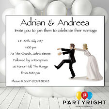 Pack of 10 Personalised Wedding Funny Bride And Groom  Invitations  Glossy card