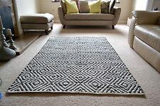 Diamond Pattern Cotton Rug Black White HandMade Woven Geometric 150x240cm 5x8'