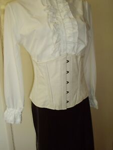 IVORY WHITE UNDERBUST VICTORIAN STYLE LACE UP CORSET 44 to 40 IN WAIST 20 TO 22