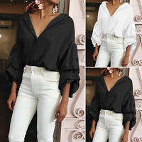 Womens Ruffle V Neck Tunic Blouse Buttons Down Bowtie Loose Casual Shirt Tops