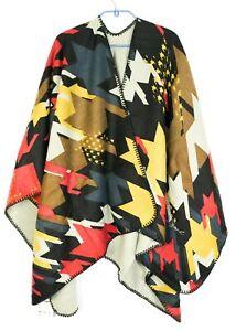 New Desigual Poncho Top Square Universal One Size Graphic Unique Logo Wrap