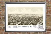 Vintage Schuylerville, NY Map 1889 - Historic New York Art Victorian Industrial