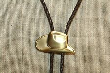 Mens Bolo Tie Cowboy Hat Western Bronze Tone Leather Cord Necklace Gift