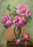 Print of Original oil painting art Vase peonies Impressionism shabby chic decor: