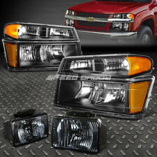 BLACK HOUSING HEADLIGHT+BUMPER+CORNER+SMOKED FOG LIGHT FOR 04-12 COLORADO/CANYON