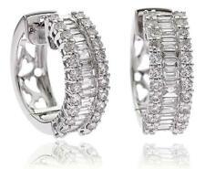Diamond Huggie Earrings Hoops Pierced 2.50ct F VS Baguette Cut 18ct White Gold