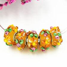 5pcs MURANO Lampwork charm Beads fit 925 silver European Bracelet Chain a1083