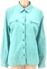 $160 Tommy Hilfiger Women'S Blue Long-Sleeve Button Linen Roll-Tab Top Shirt Xl