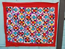 Vintage Colorful Mexican Throw Quilt 2 Sided Latin American Historic Folk Art
