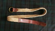 POLO RALPH LAUREN DOUBLE-D RING WOVEN AND LEATHER TRIM MENS BELT (NATURAL): M