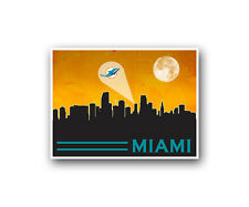 Miami Dolphins Poster City Skyline Art Print Man Cave Decor 12x16""