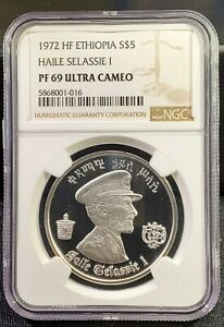 1972 Ethiopia 5 Dollars Silver Proof w/ Haile Selassie Lion NGC PF69 Ultra Cameo