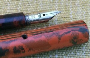 Extremely Rare Red Mottled Waterman Eyedropper Fountain Pen circa 1910