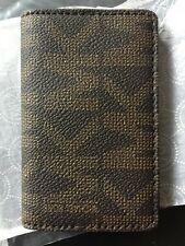 New Michael Kors Brown Signature MK ID Holder Card Case Leather lined