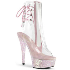 """Pleaser 6"""" clear opal glitter ankle boots"""