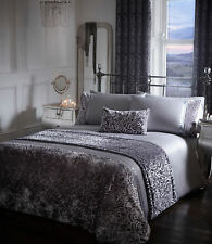DOUBLE BED DUVET COVER SET AMELIA STEEL GREY SILVER FLORAL CRUSHED VELVET