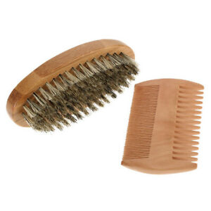 Soft Bristle Wood Beard Brush Comb Set Hairdresser Shaving Grooming Tool