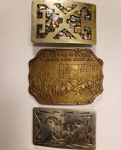 Belt Buckles Brass Central & Union Pacific Rail Rd. Co. Mustang Horse