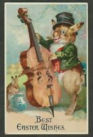 Humanized Dressed Bunny Rabbit~ Plays Cello~Antique~Easter Postcard-Feinberg-b51