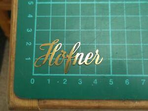 Hofner guitar or bass headstock logo in metal (brass?)