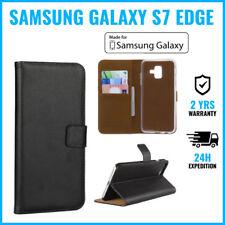 Wallet Flip Case Cover Cas Coque Etui Hoesje Black For Samsung Galaxy S7 Edge