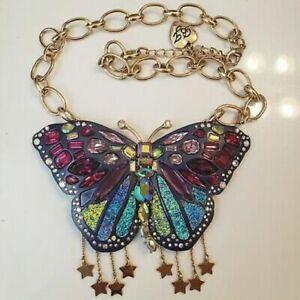 Betsey Johnson Multi-color LG Glitter Butterfly Statement Necklace