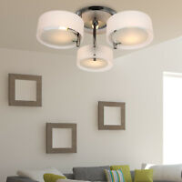 HOMCOM Acrylic Lamp Ceiling Light Pendant Chandelier with 3 Lights Chrome Finish