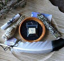 Mugwort Sage smudge with Feather & Black Salt Pagan Native Repel Negativity