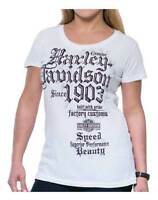 Harley-Davidson Women's Cadence Embellished Scoop Neck Short Sleeve Tee, White
