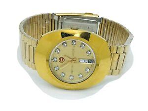 RADO DiaStar Magid Day/Date 636.0313.3 Gold Tone Swarovski Hour Markers - (202E)