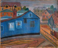 """Russischer Expressionist Öl Leinwand """"Alte Stadt"""" 56x49 cm"""