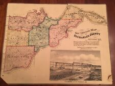 Rare 1875 Sectional Map St Charles County MISSOURI Post Offices Churches Schools