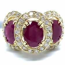 Large 18K Yellow Gold Natural 3 Oval Rubies Diamond Halo Ring. July Birthstone.