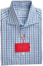 Kiton Luxury Dress Shirt Fine Cotton Small 15 38 Blue White Check 01SH0459 $795