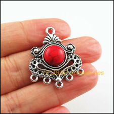 5 New Flower Heart Charms Tibetan Silver Tone Red Turquoise Connectors 26x31mm