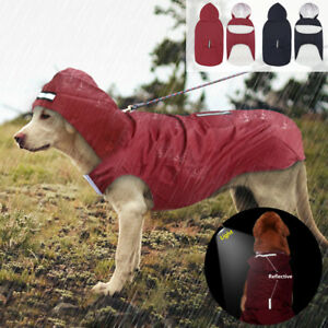 Reflective Dog Raincoat Waterproof Labrador Clothes Hoodie Outdoor Rain Jacket