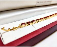Yellow gold finish red ruby and created diamond tennis bracelet free postage