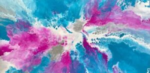 ABSTRACT ORIGINAL PAINTING READY TO HANG PINK BLUE WHITE AUSTRALIAN ARTIST