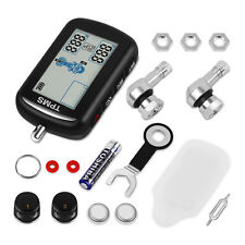 Wireless TPMS For Motorbike Motorcycle DIY Tyre Pressure Monitor 2 Sensors LCD