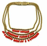 Vintage 1950s gilt metal and red glass drop collar necklace EPJ1203