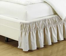Wrap Around Style Easy Fit Elastic Bed Ruffles Bed-Skirt Twin-Full Solid Beige
