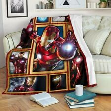 Iron Man Open Arms Flying Air 3D Warm Plush Fleece Blanket Picnic Sofa Couch