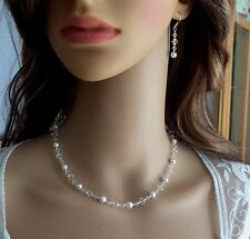 HANDMADE CLEAR CRYSTAL AND WHITE PEARL  BRIDAL NECKLACE WEDDING JEWELRY GIFT