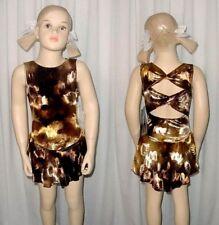 Mystic Twist Back BROWN Velvet Ice Skating Dress Dance Costume Child 6x7