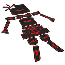 Fit Jeep Wrangler Jl Accessories Door Mats Gate Slot Mat Cup Pads Red 19pcs szd
