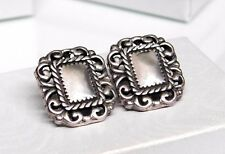 """3/4"""" Vintage Sterling Silver Rectangle """"Picture Frame"""" Post Earrings"""
