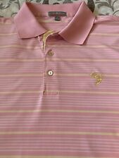 PETER MILLAR Summer Comfort Men's Pink Yellow White Striped SS Golf Polo L